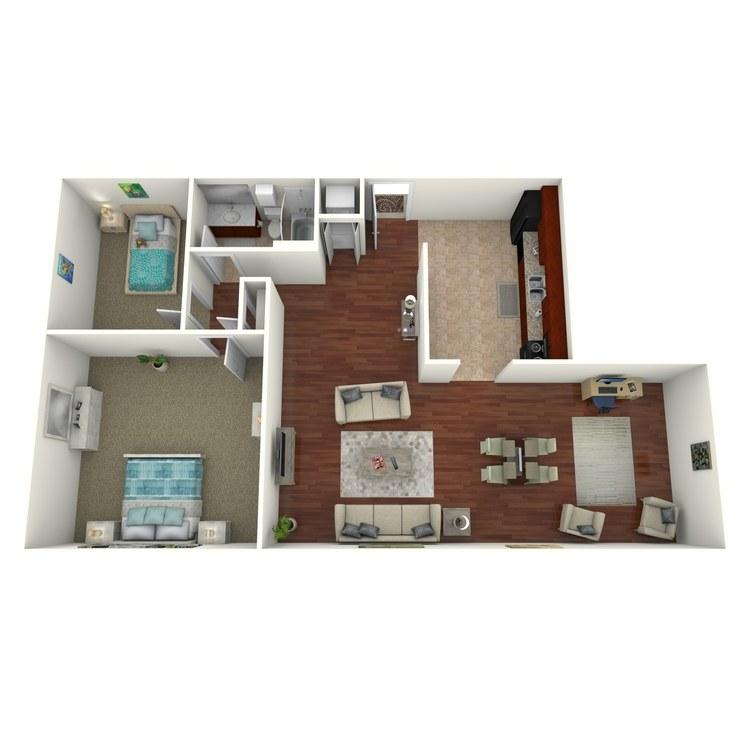 Floor plan image of 2 Bed 1 Bath (+ Den)