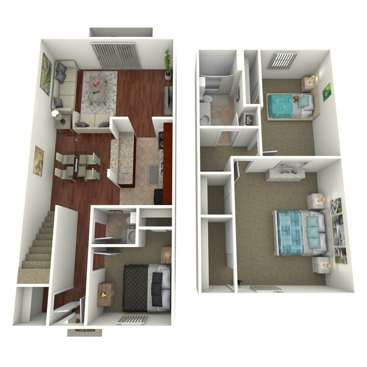 Floor plan image of 3 Bed 1.5 Bath Townhome