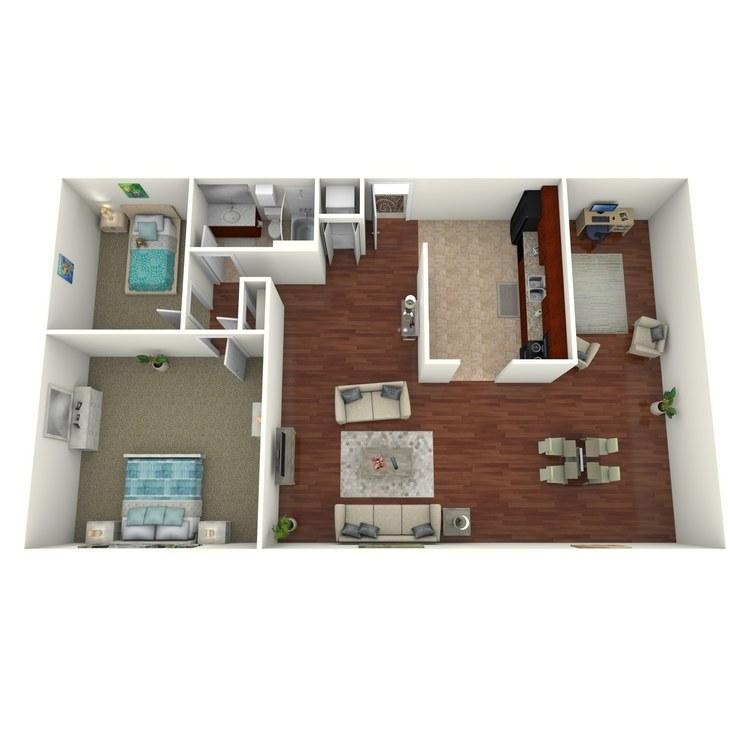 Floor plan image of 2 Bed 1 Bath Deluxe (+ Den)