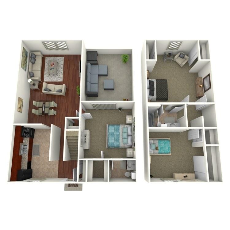 Floor plan image of 3 Bed 1.5 Bath Townhome Deluxe