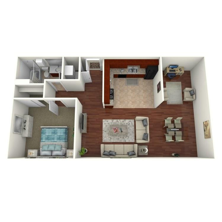Floor plan image of 1 Bed 1 Bath + Den