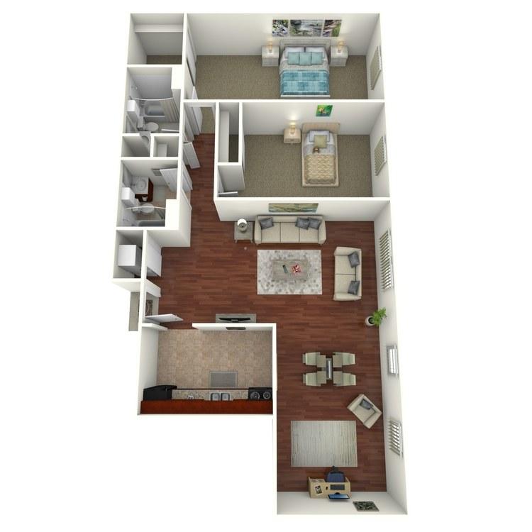 Floor plan image of 2 Bed 2 Bath (+ Den)