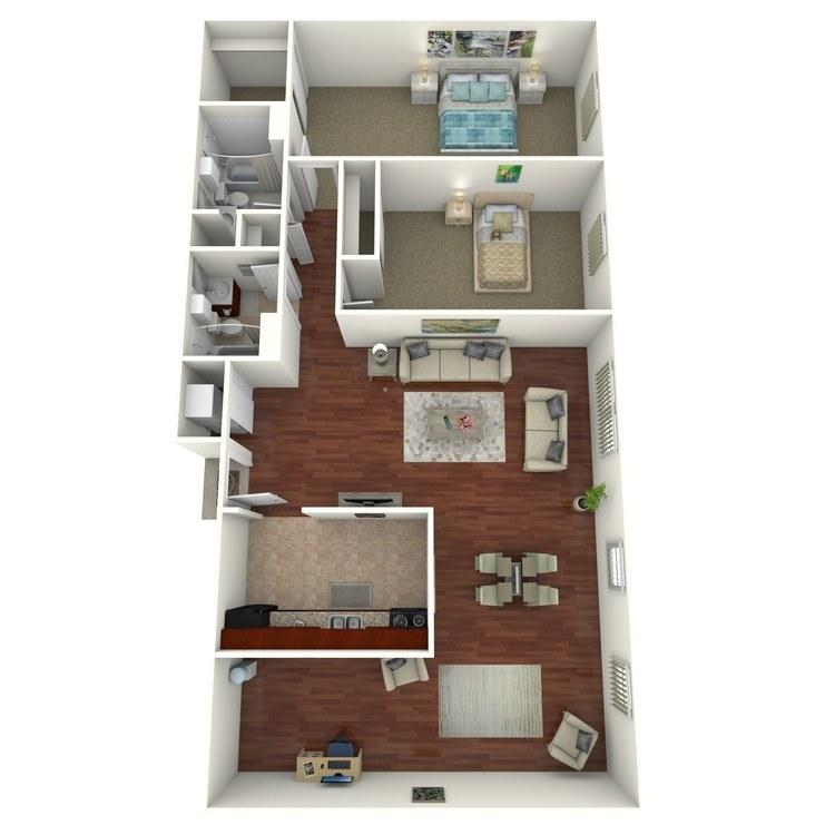 Floor plan image of 2 Bed 2 Bath Deluxe (+ Den)