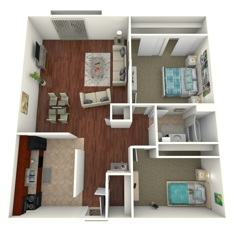 Floor plan image of 2 Bed 1 Bath Ranch Townhome