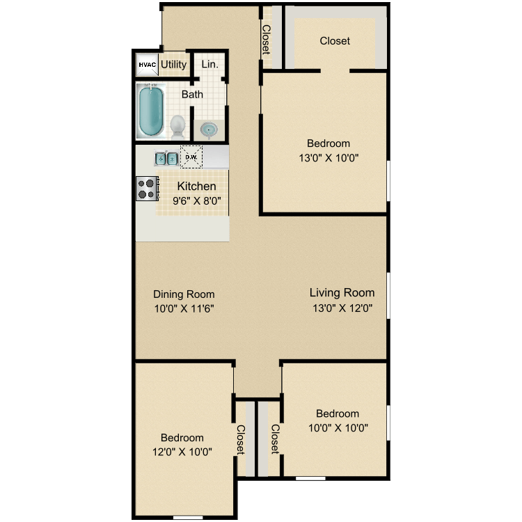 3 Bed 1 Bath floor plan image