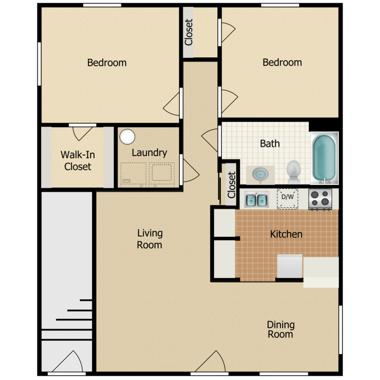 2 Bed 1 Bath - 1st Floor floor plan image