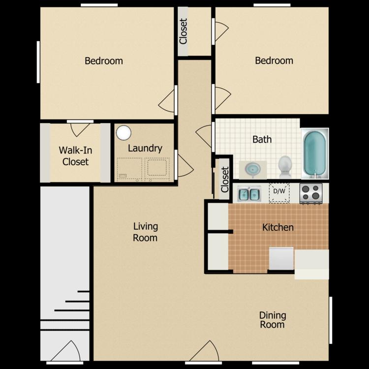 Floor plan image of 2 Bed 1 Bath - 1st Floor
