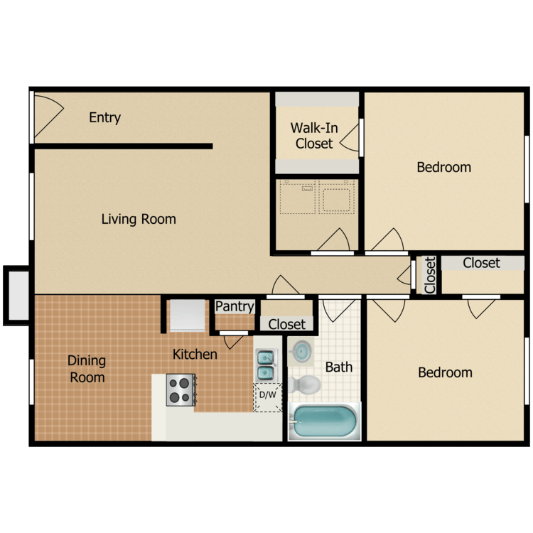 2 Bed 1 Bath - 2nd Floor floor plan image