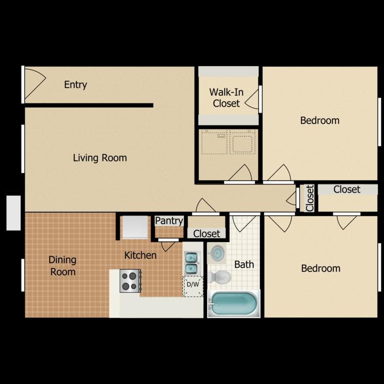 Floor plan image of 2 Bed 1 Bath - 2nd Floor