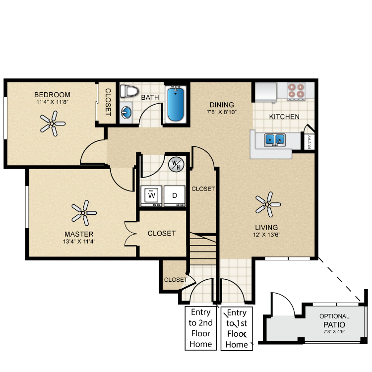 Floor plan image of Casita Two Bedroom/One Bath