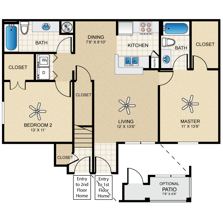 Floor plan image of Casita Two Bedroom/Two Bath