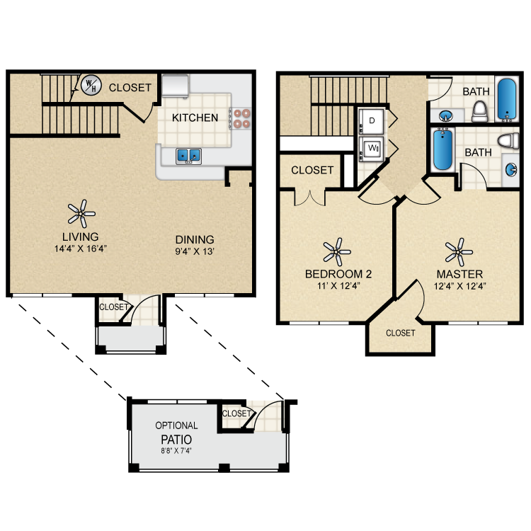 Floor plan image of Townhome Two Bedroom/Two Bath