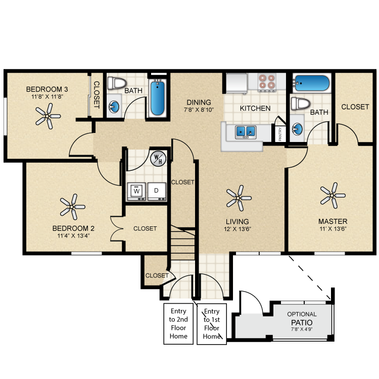 Floor plan image of Casita Three Bedroom/Two Bath