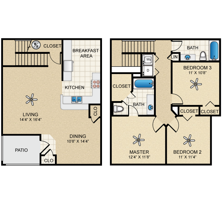 Floor plan image of Townhome Three Bedroom/Two Bath
