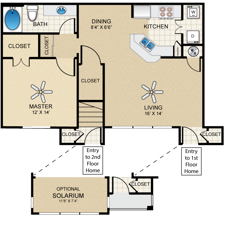 Floor plan image of Villa One Bedroom/One Bath