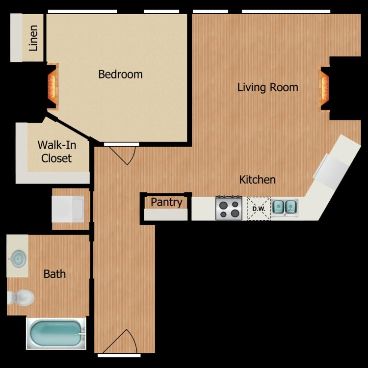 Floor plan image of One Bedroom B
