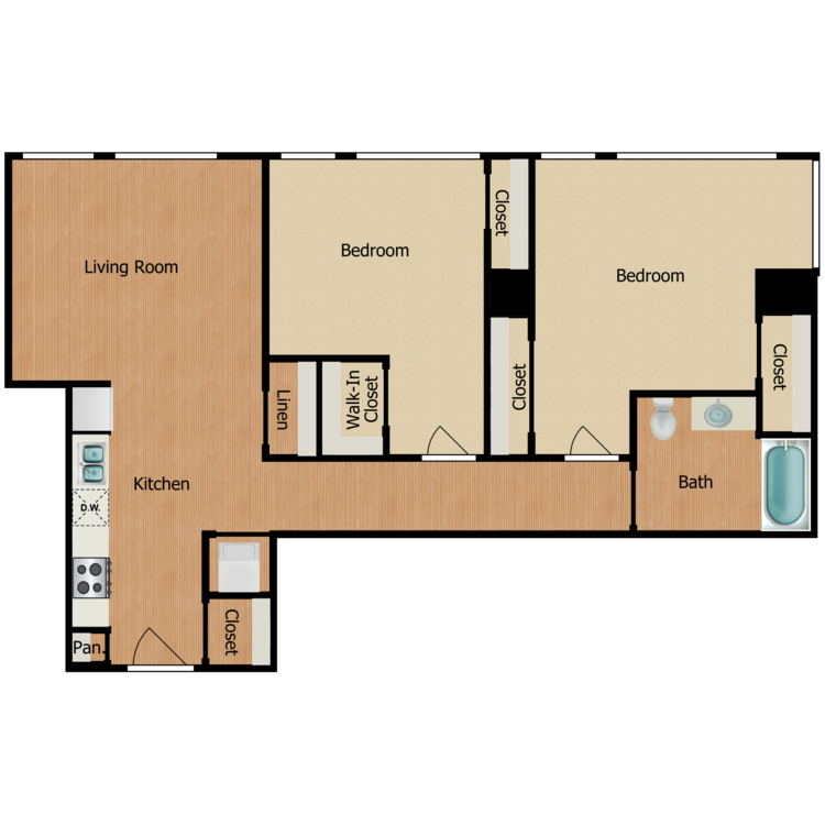 Floor plan image of Two Bedroom A