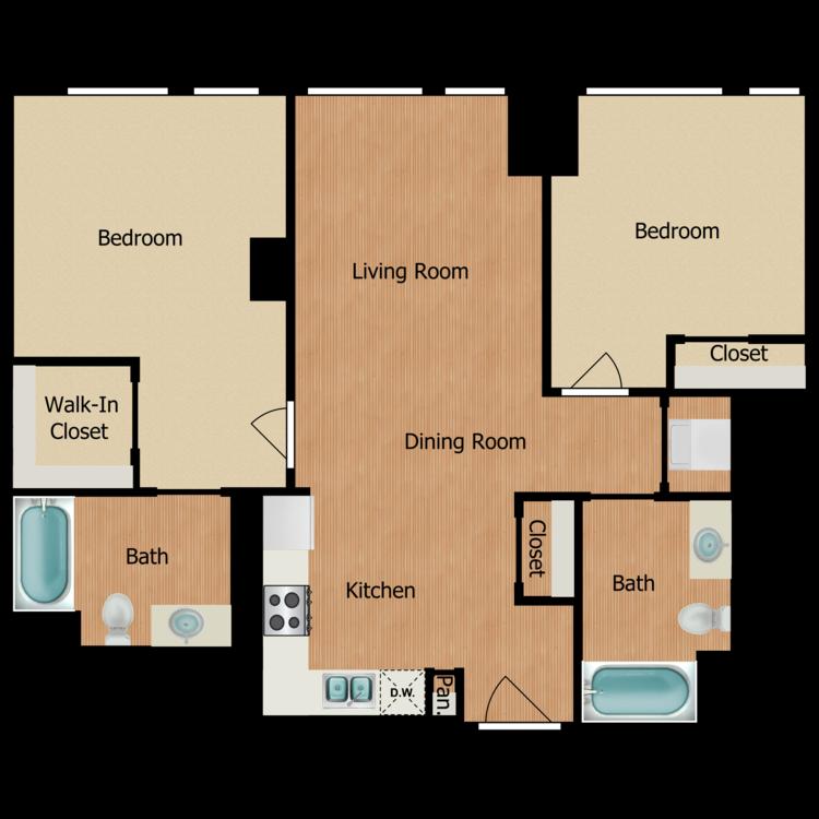 Floor plan image of Two Bedroom D