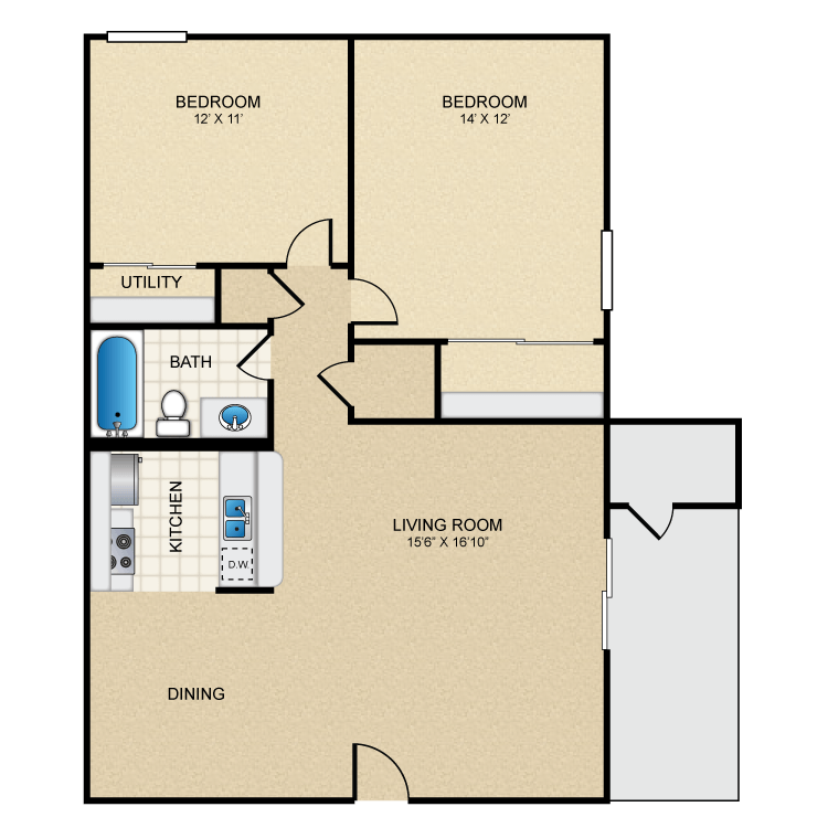 2 Bed 1 Bath Furnish This Floor plan. The Highlands   Availability  Floor Plans   Pricing