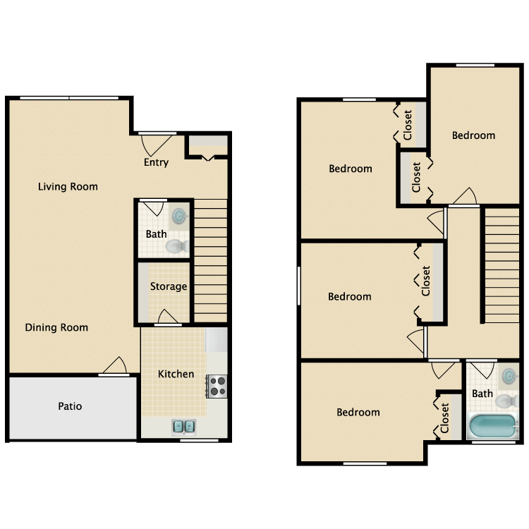 Floor plan image of 4 Bed 1.5 Bath