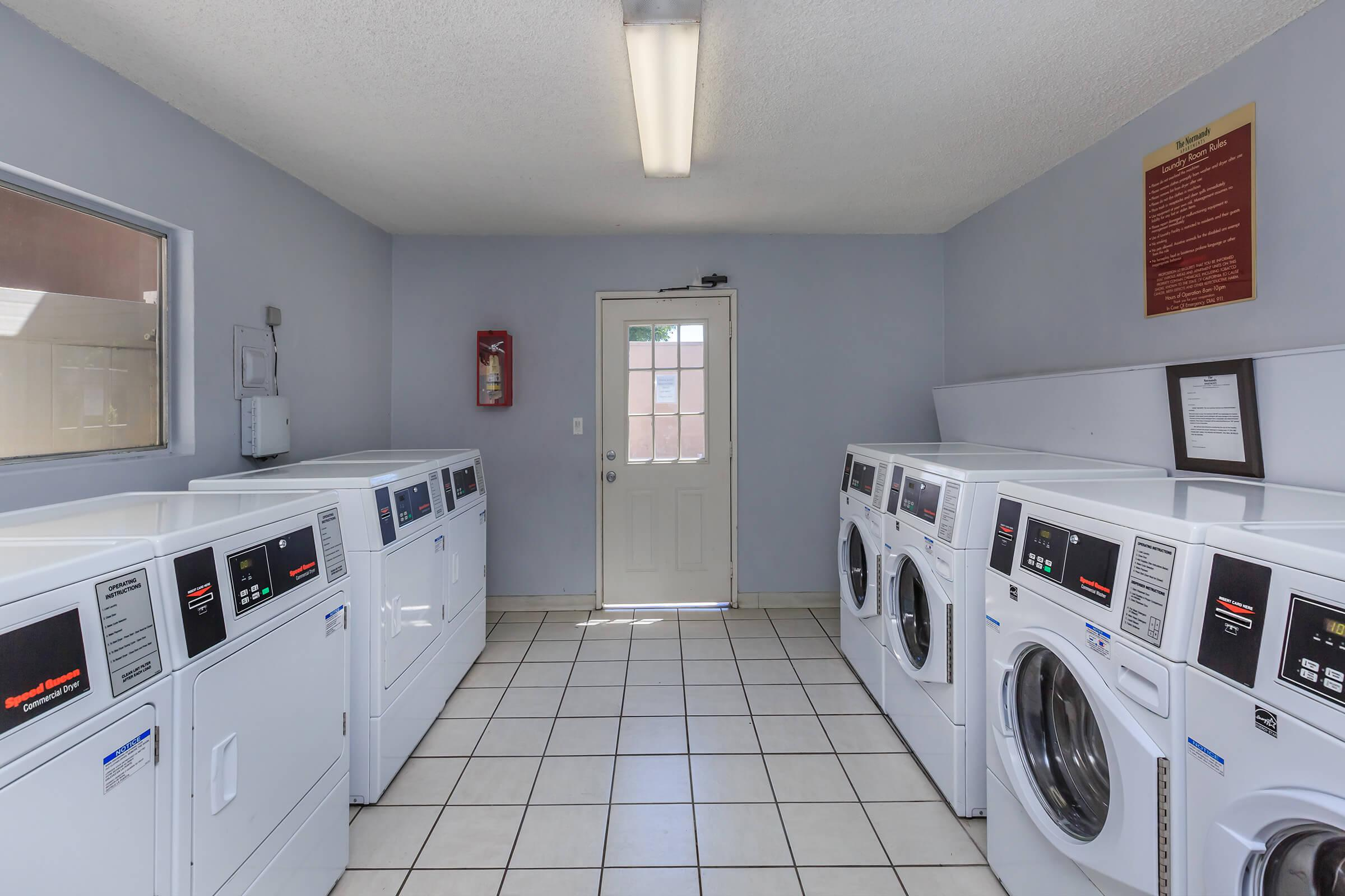 Washers and dryers in community laundry room