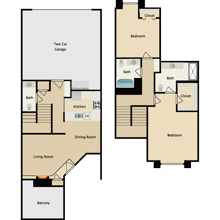Floor plan image of B-2 BR Townhouse