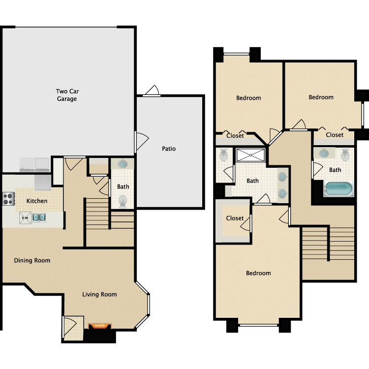 Floor plan image of C-3 BR Townhouse
