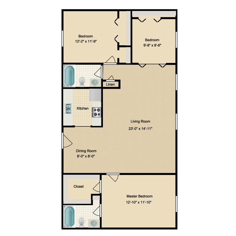 Floor plan image of 3 Bed 2 Bath B