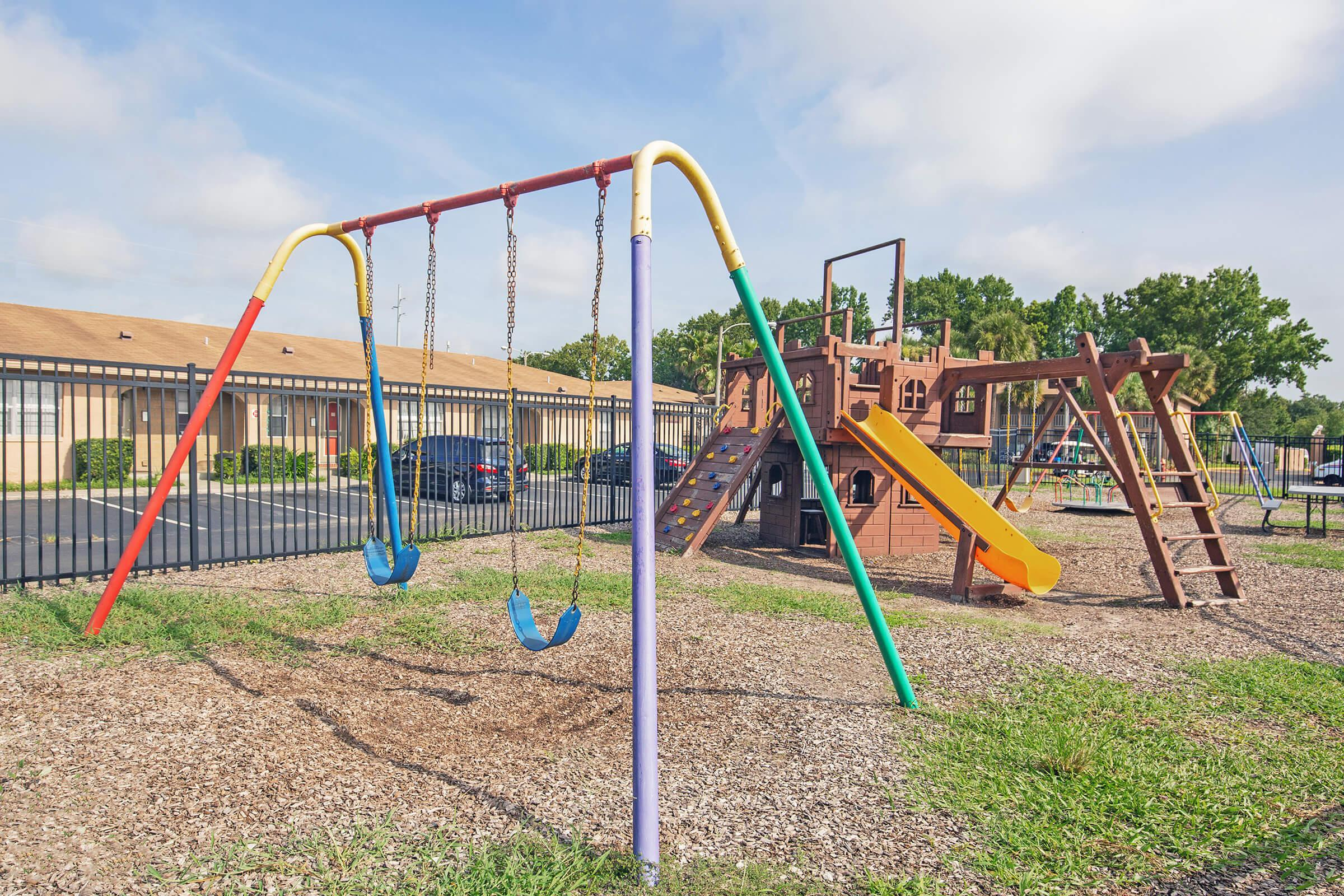 a playground in a swing