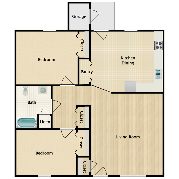 Floor plan image of 2 Bed 1 Bath HC