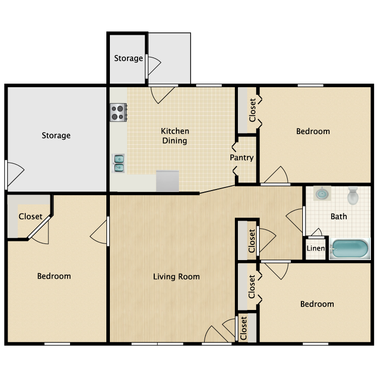 Floor plan image of 3 Bed 1 Bath HC