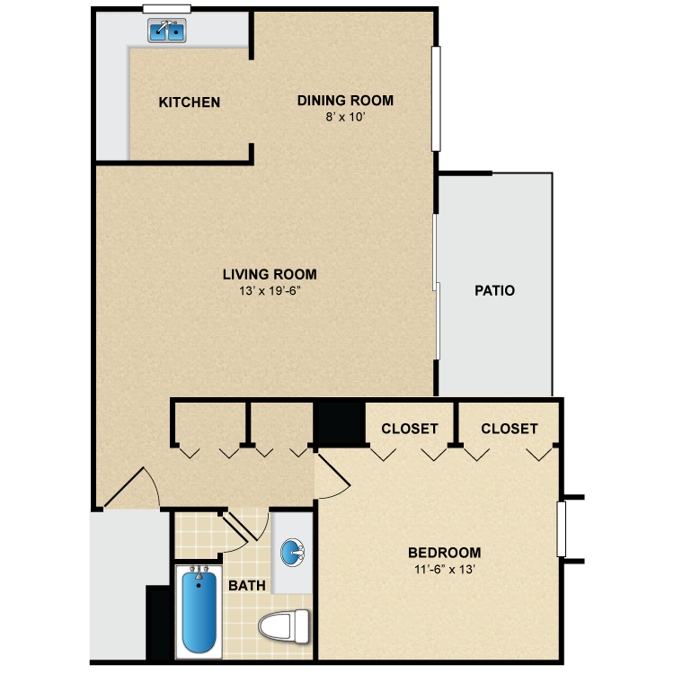 Floor plan image of 1 Bed 1 Bath A3
