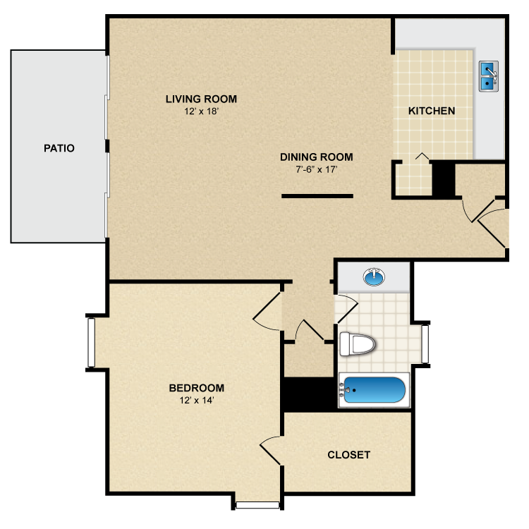 Floor plan image of 1 Bed 1 Bath A4