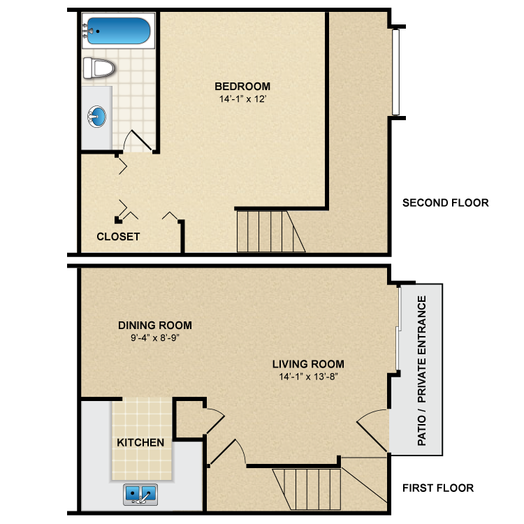 Floor plan image of 1 Bed 1 Bath Townhome A1