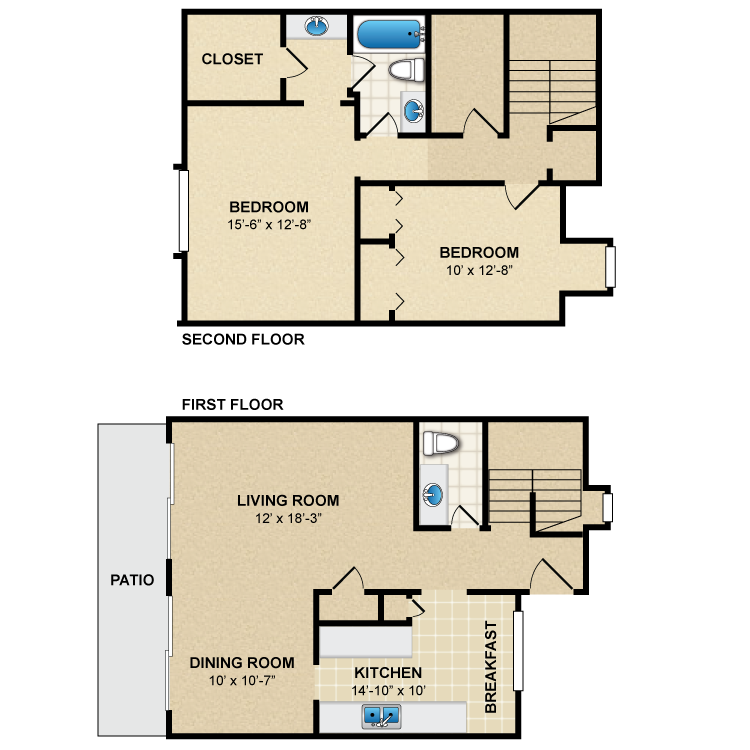 Floor plan image of 2 Bed 1.5 Bath Townhome B2