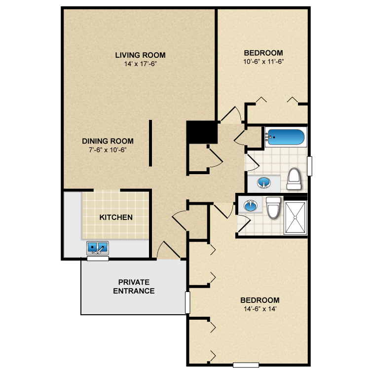 Floor plan image of 2 Bed 2 Bath B3