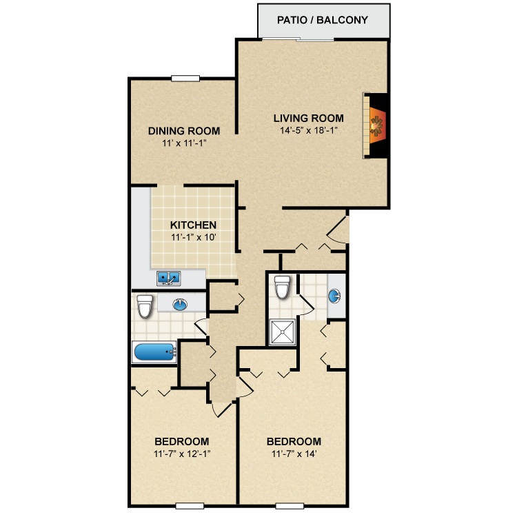Floor plan image of 2 Bed 2 Bath B4