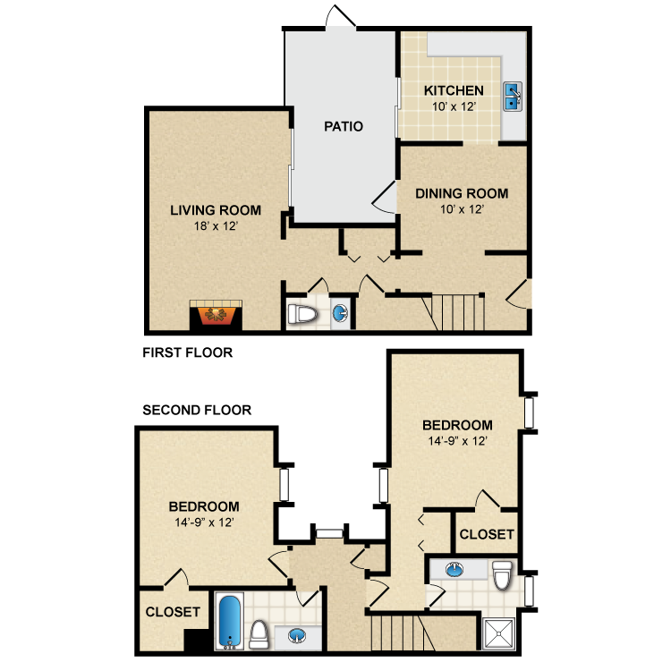 Floor plan image of 2 Bed 2.5 Bath Townhome B4