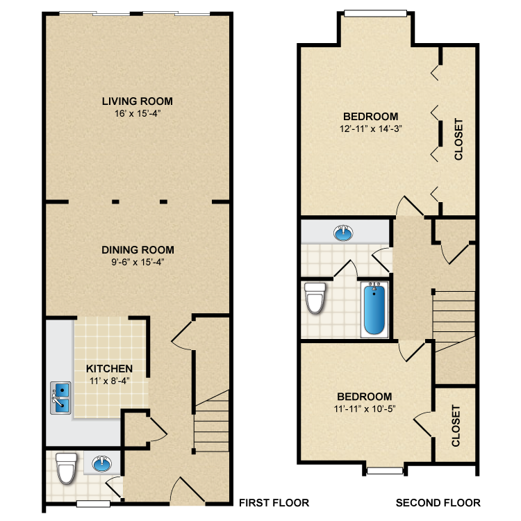 Floor plan image of 2 Bed 1.5 Bath Townhome B1