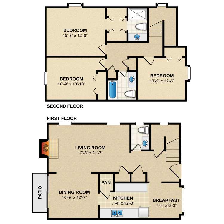 Floor plan image of 3 Bed 2.5 Bath Townhome C1