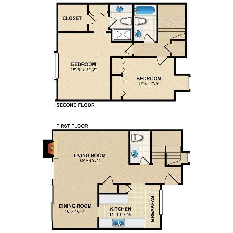 Floor plan image of 2 Bed 2.5 Bath Townhome B3