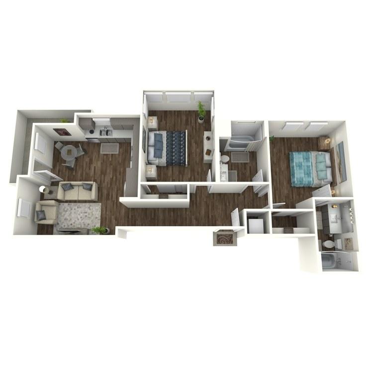 Floor plan image of B1 2 Bed 2 Bath
