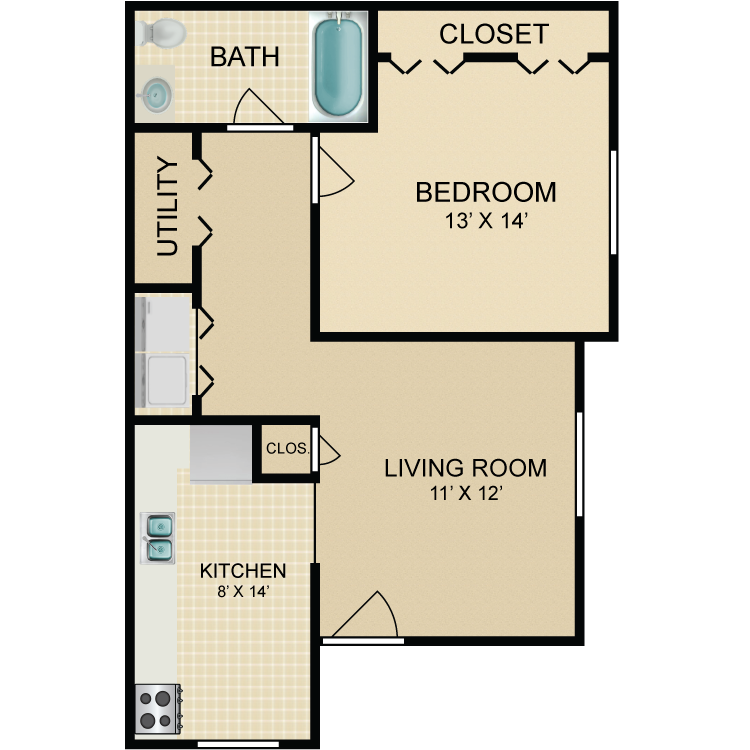 Floor plan image of 1 Bedroom Ranch