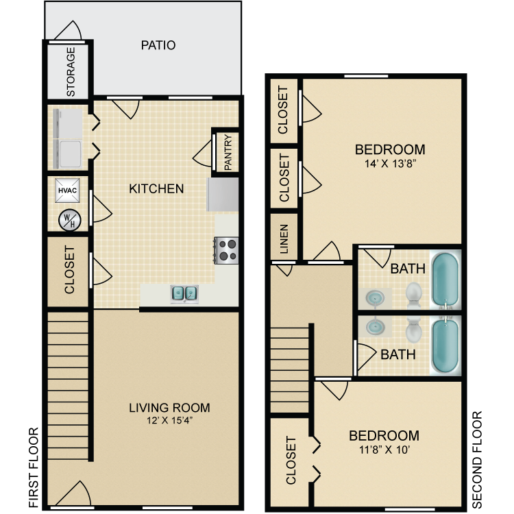 Floor plan image of 2 Bedroom Townhome