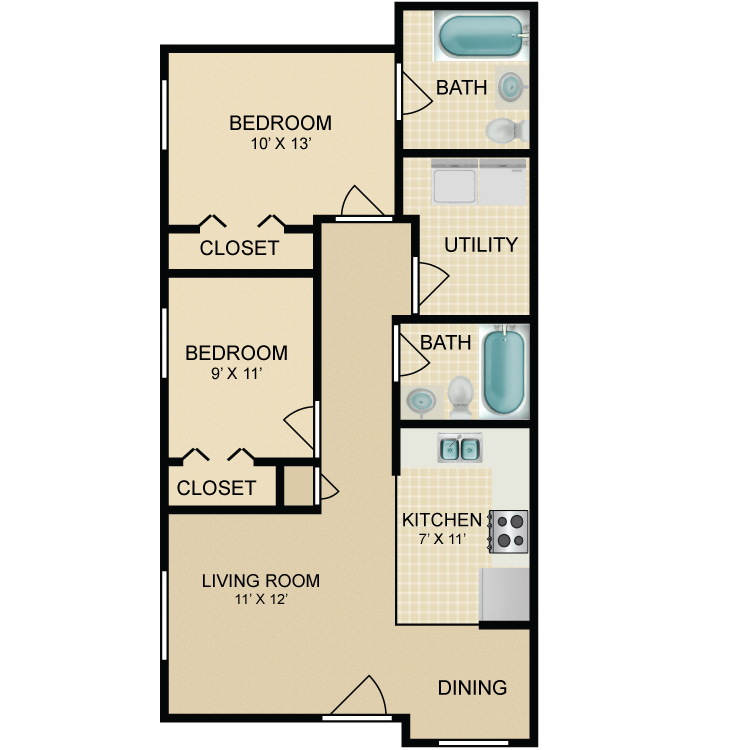 Floor plan image of 2 Bedroom Ranch