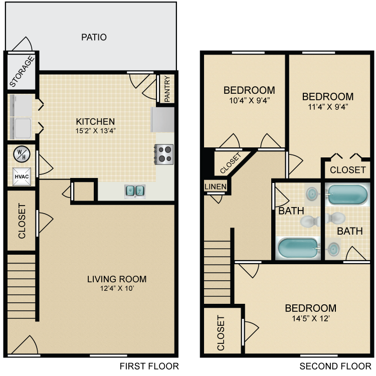 Floor plan image of 3 Bedroom Townhome