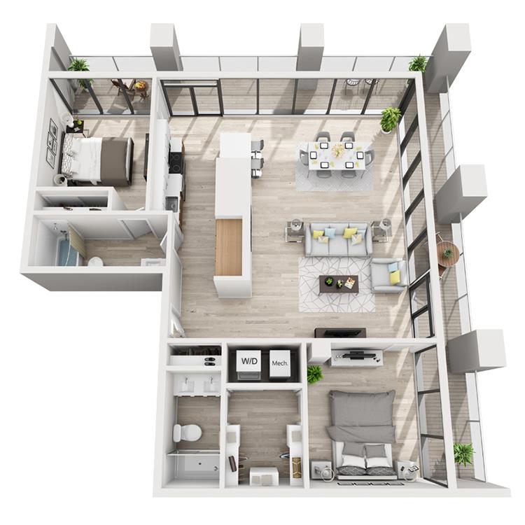 Floor plan image of 3T-Northeast View