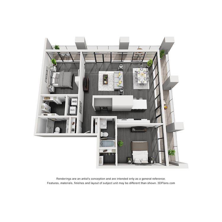 Floor plan image of 1T-Northwest View