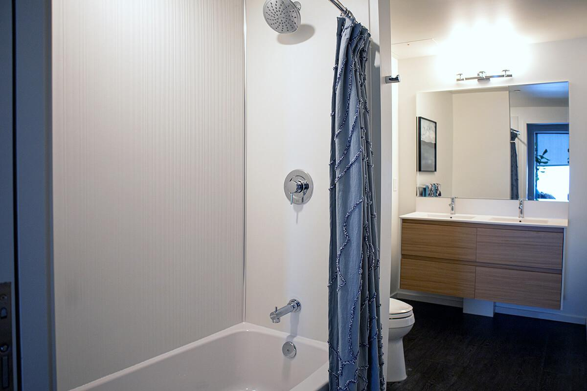 a close up of a shower in a small room