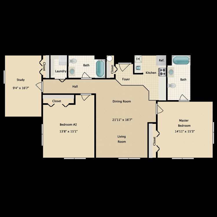Floor plan image of Building 1-3C